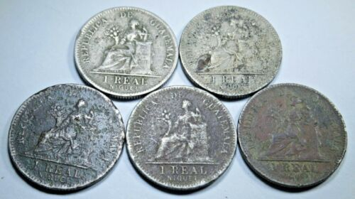 Coins: World Guatemala Lot Of 10 1 Reales Antique 1900-1912 1 Real Old Guatemalan Money Coins