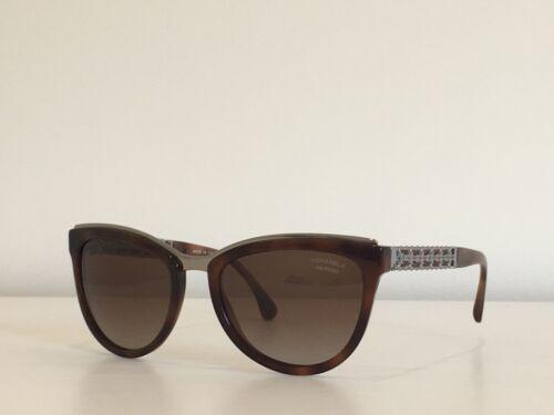 adf3450fa2 A30 CHANEL 5361-Q c.1575 S9 Havana Brown Silver Polarized Sunglasses 5519140