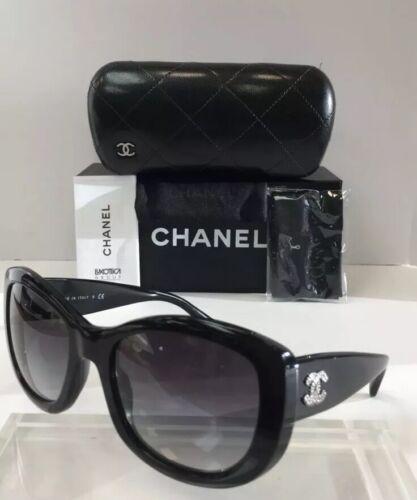 799aa2fa3d51b Chanel 5239 501 3C Black Plastic Silver Logo Grey Gradient Women Sunglasses  New