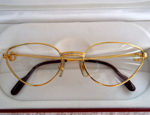 086669d956872 Cartier Louis Beautiful CATS EYE 18K Heavy Gold   Platinum Plated Glasses