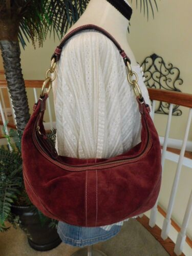 bee77df64ce3 Coach Suede Leather Burgundy Hobo Shoulder Handbag F10935