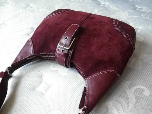 88a6fa098a88 COACH HAMPTONS FINEST SUEDE RED BURGUNDY LEATHER SHOULDER HOBO BAG PURSE  NICE