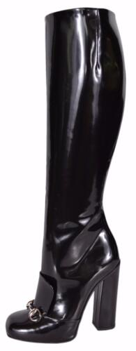 e4d1e8039c5 Gucci Women\'s 363805 Black Patent Leather Horsebit Lilian Knee High Boots  36