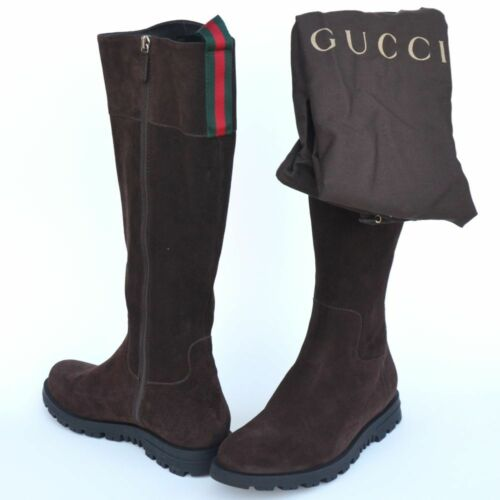33cd51c22 GUCCI New Womens Boots sz 35.5 - 5.5 Auth Designer Web Zip Riding Brown  Shoes
