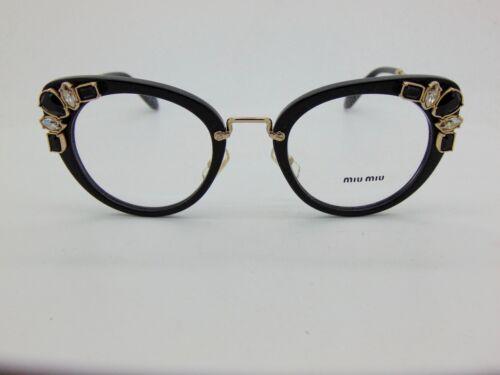 22327b518e8a MIU MIU VMU 05P 1AB-1O1 Black Gold Crystal 50mm Rx Eyeglasses