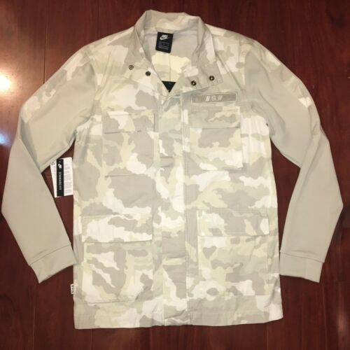 5aaa57877979 NIKE NSW CAMO JACKET SPORTSWEAR WHITE LIGHT BONE 928621-121 MEN SIZE SMALL