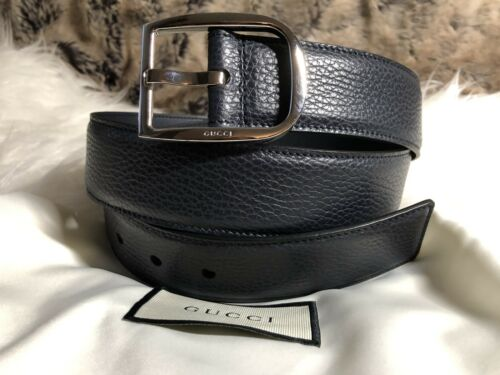 731313d7134 NWT Authentic Gucci Mens Belt in Dark Blue Leather 90 36 Made In Italy