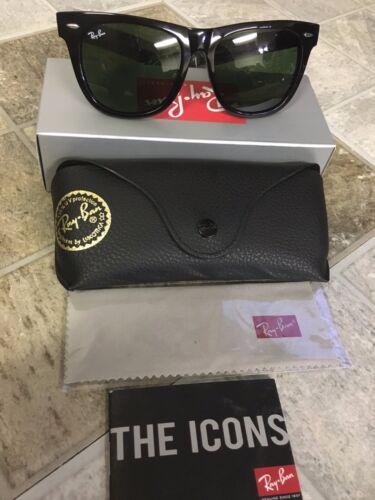 036c084a1 Original Black Wayfarer Ray Ban Sunglasses RB2140 901 50mm Unisex Green Lens