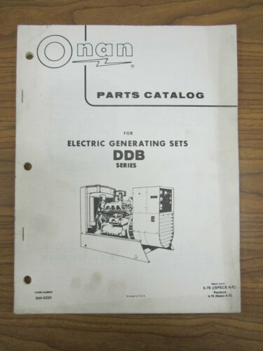 onan parts catalog for series ddb electrical generating sets specs a - e