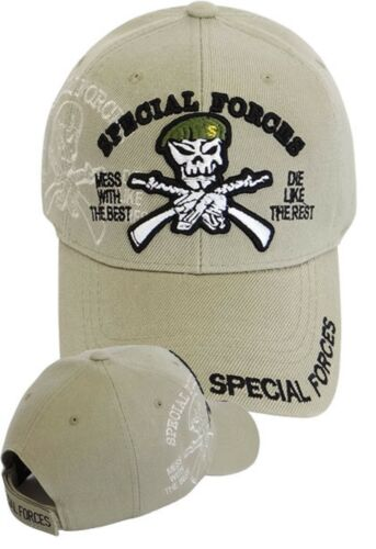 fd04ce0acd633 US Army SPECIAL FORCES Ball Cap Ranger Airborne Green Beret SHADOW Hat Tan  KHAKI