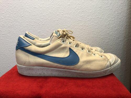 huge discount 90343 0d403 Vintage 1981 Nike All Court Tennis Shoes Mens 10.5 White Blue RARE Blazer  Canvas